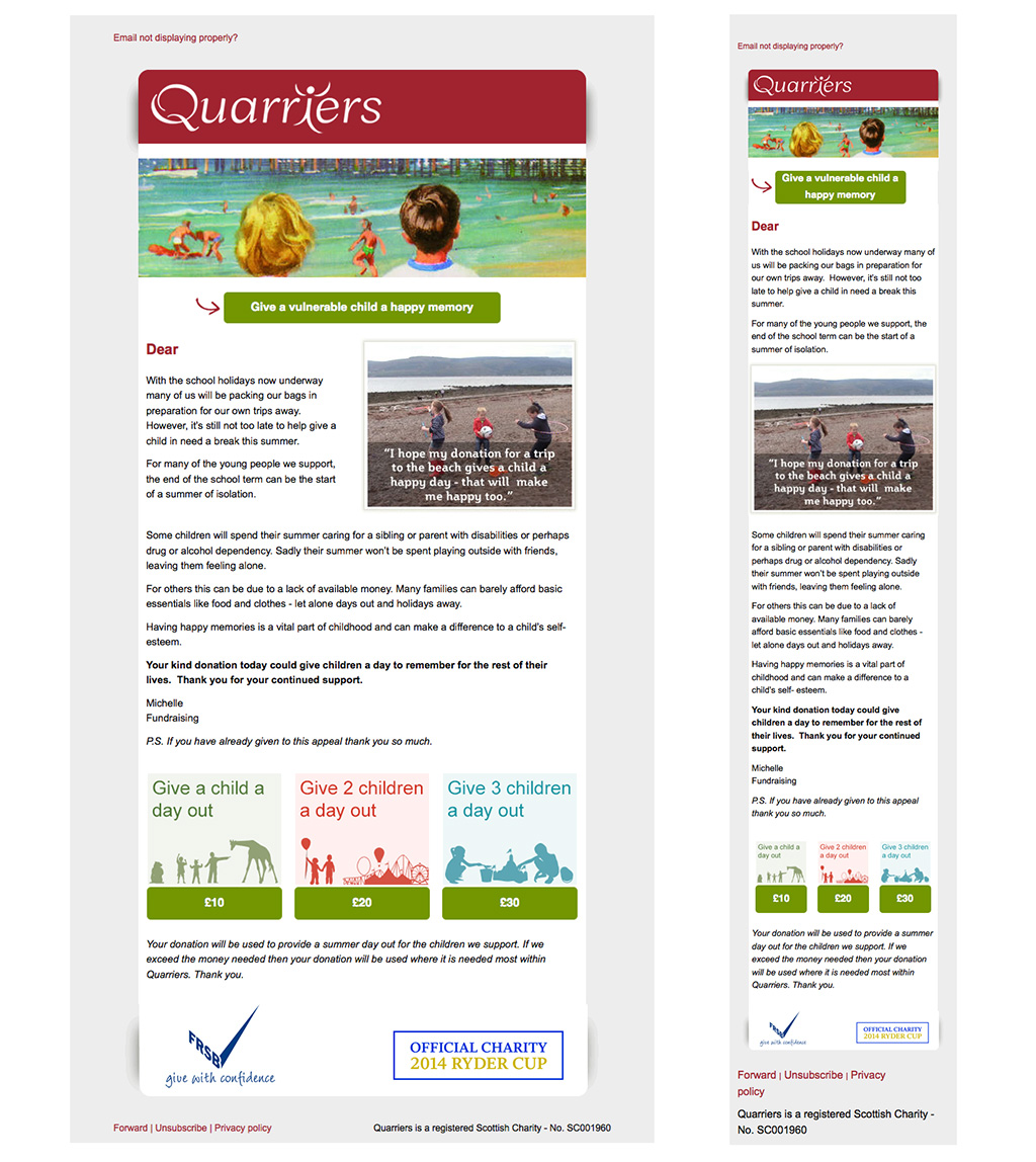 Quarriers Desktop and Mobile Emails