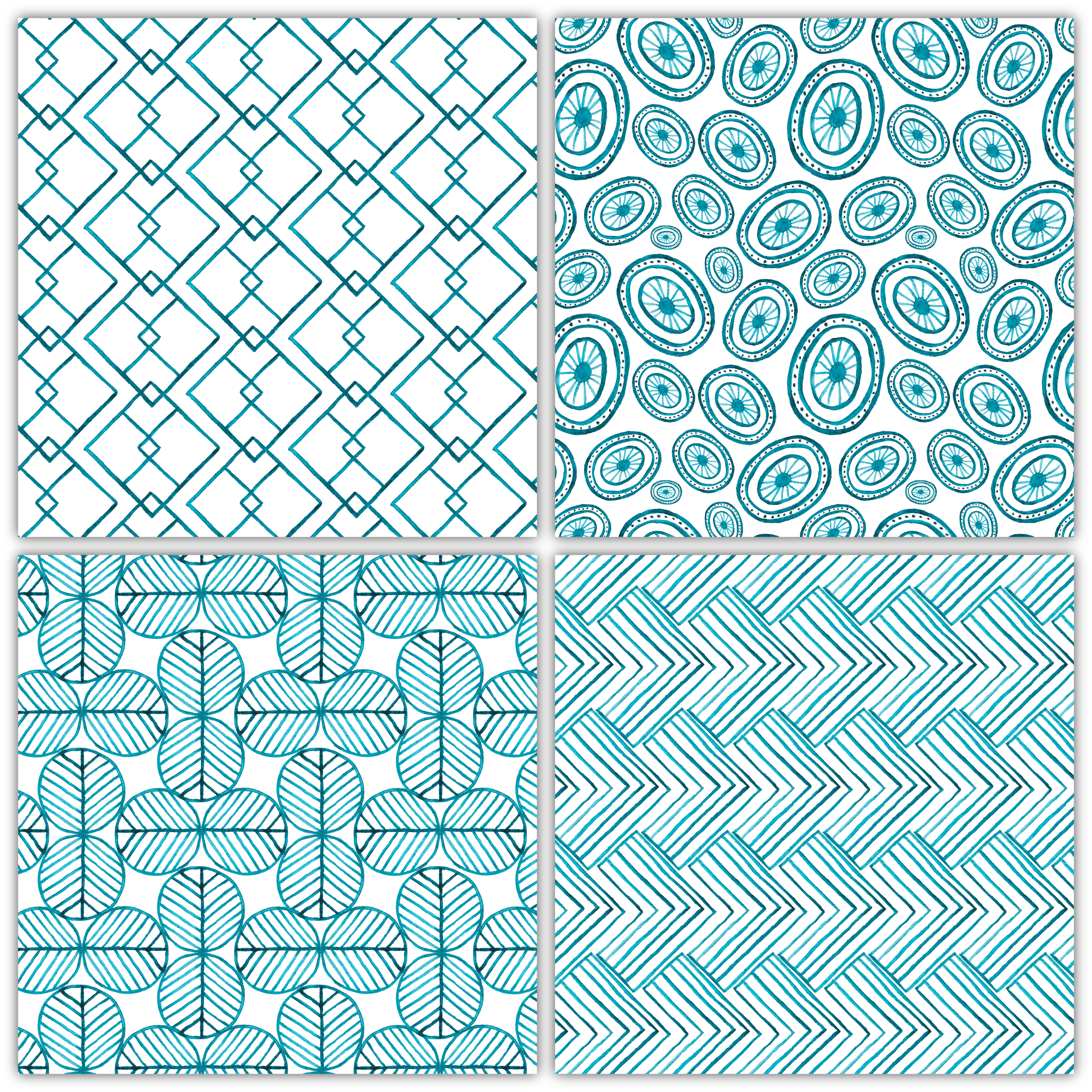seamless geometrical patterns, the elements are hand painted watercolor item