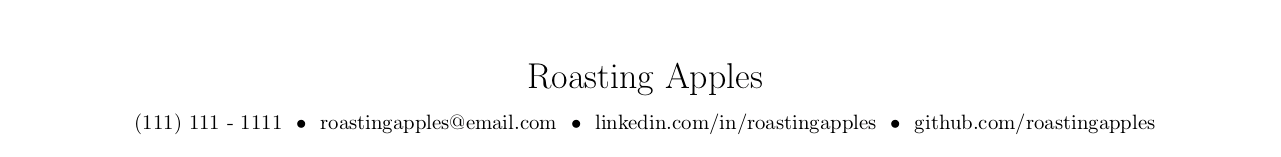 Second example of a good resume header