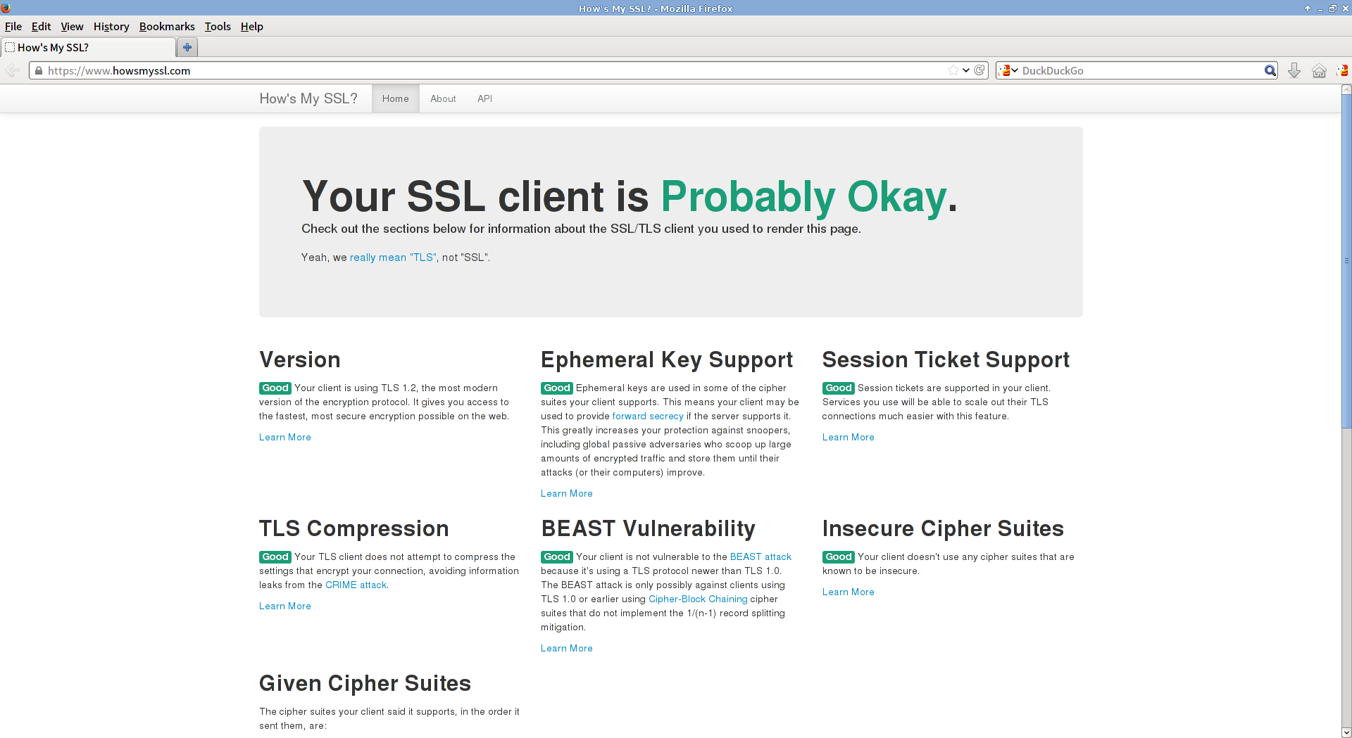 howsmyssl.com loaded in Firefox 26