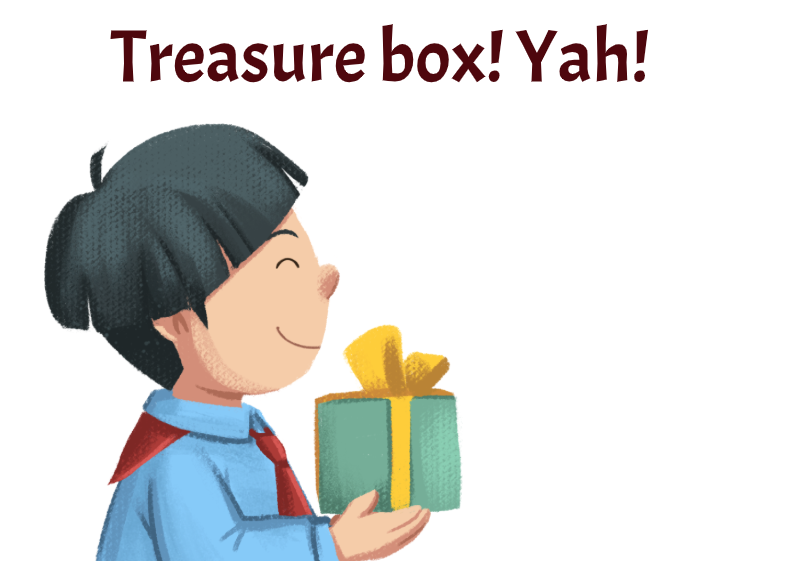 Boy holding a treasure box