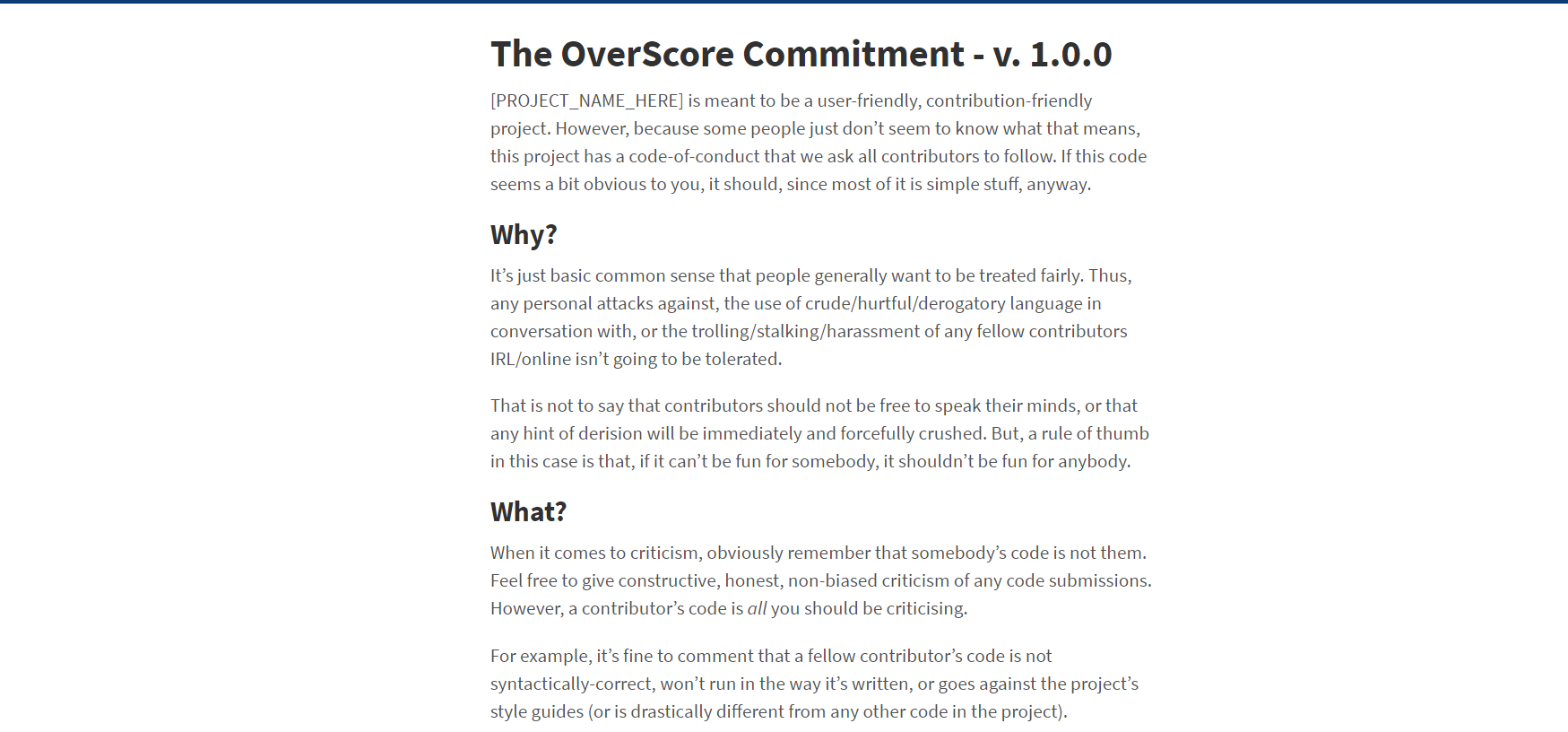 A screenshot of the OverScore Commitment's website
