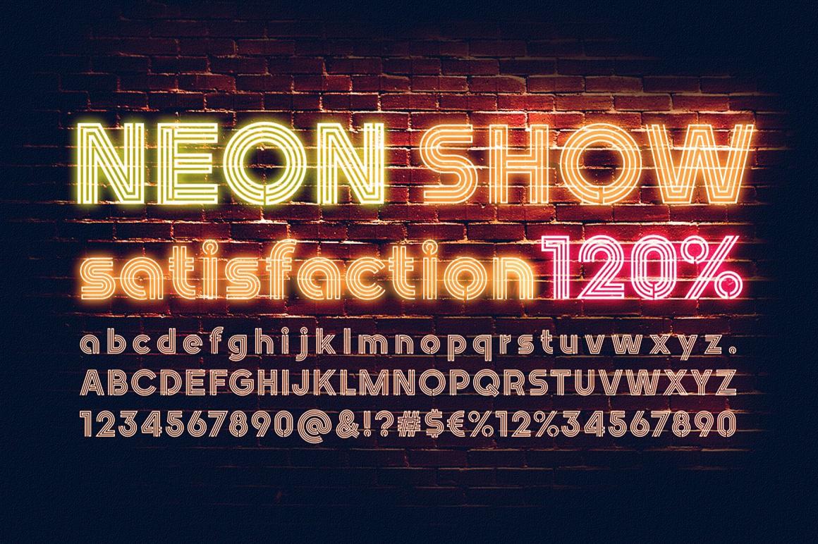 Nightlife Decorative Neon Font images/promo_Nightlife_10.jpg