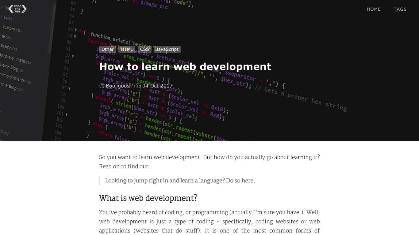 A Code The Web article with CSS