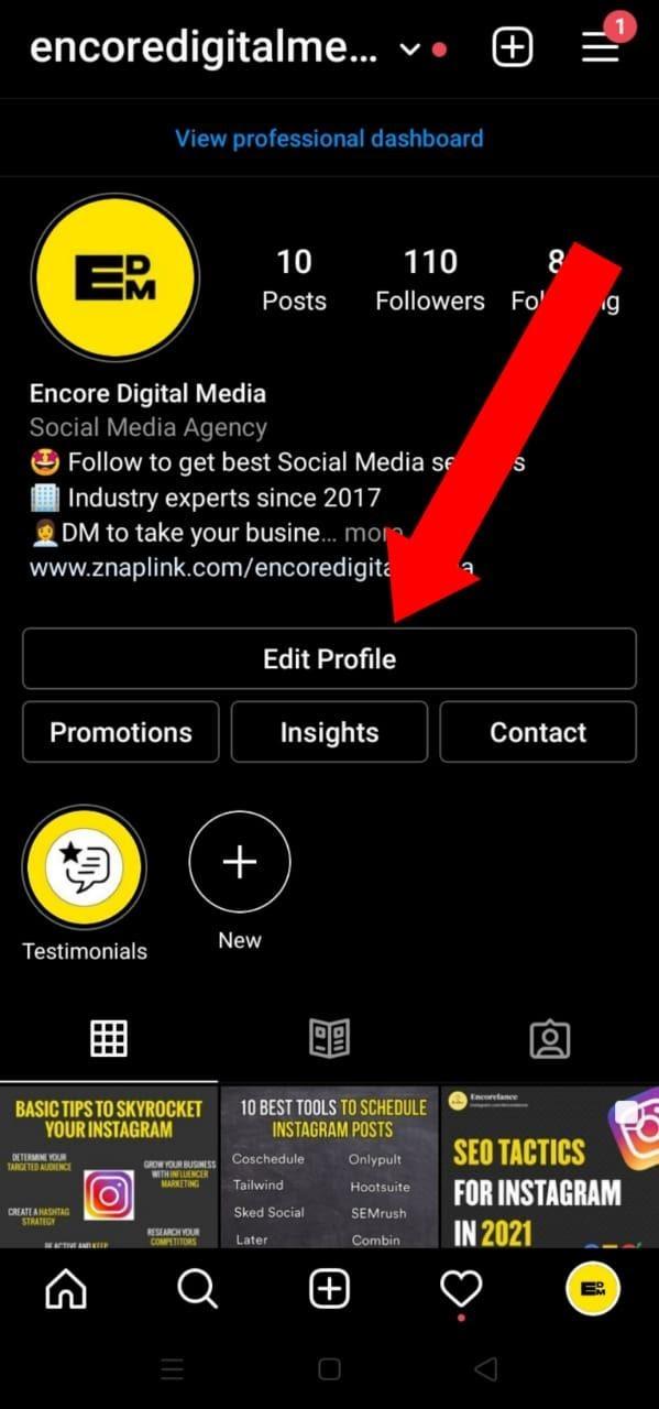 "Click on ""Edit Profile""."