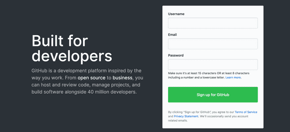 Github puts their signup form front and center so that no one ever misses it.