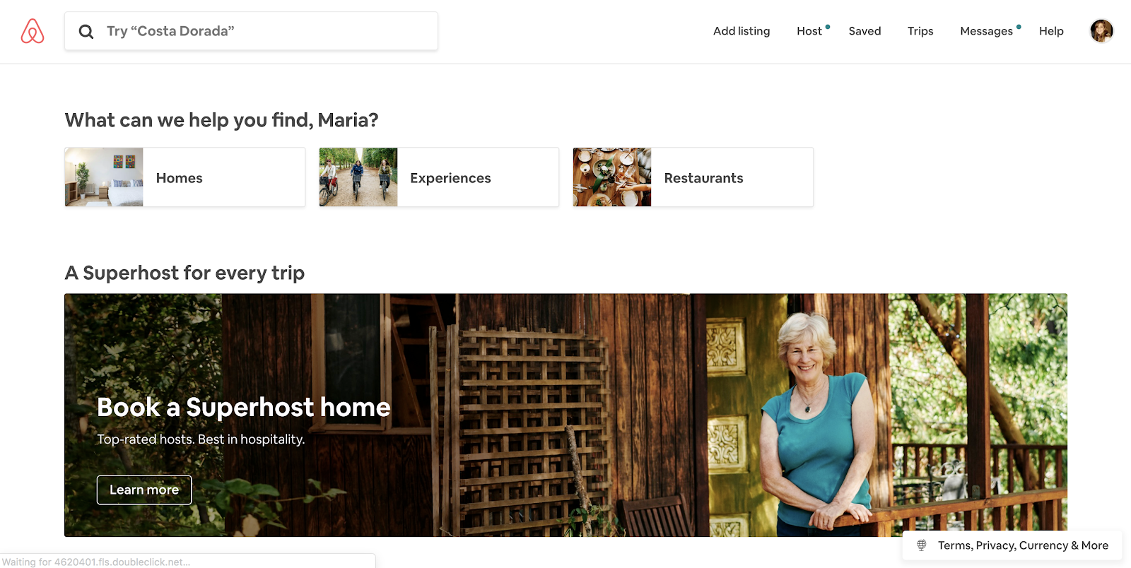 An example of microcopy in the search field, as used by Airbnb