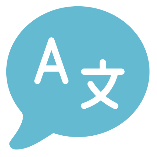 An icon representing language with Roman and Chinese characters