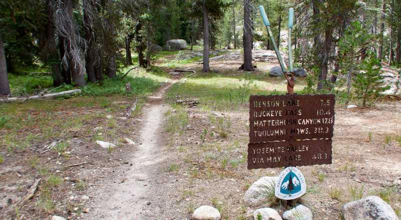 A trail mileage marker in Yosemite