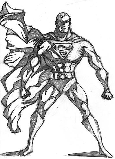 Superman Bold Stance Sketch