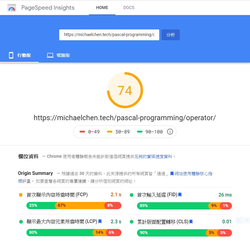 PageSpeed Insight 行動環境跑分