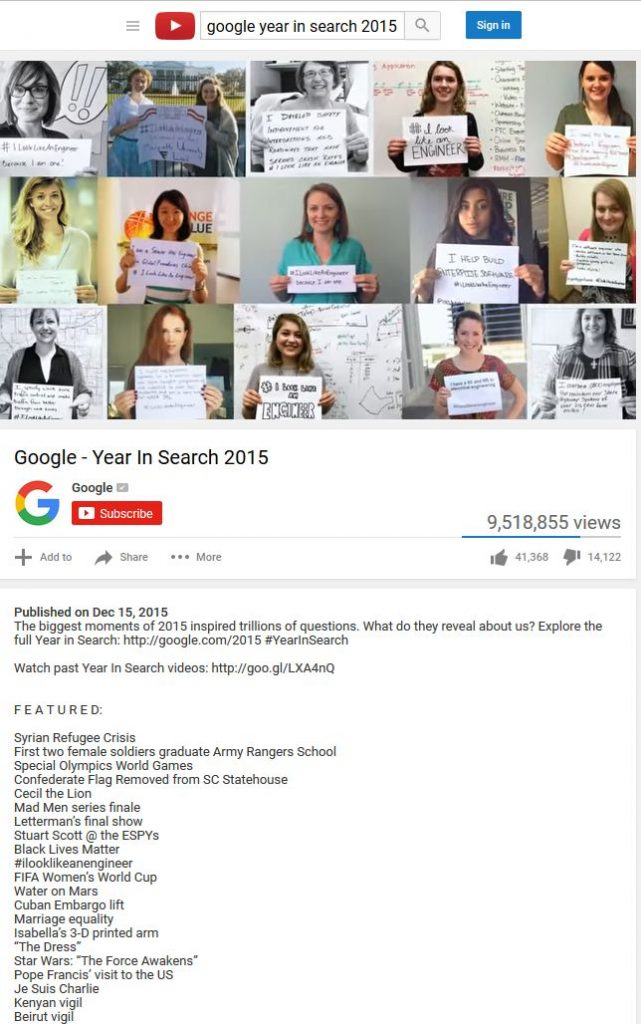 Screenshot of the Google 2015 Year in Search video on Youtube with 15 women holding #ILookLikeAnEngineer signs, including Sarah