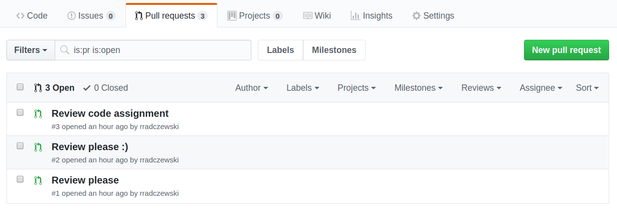 A screenshot of a repository's open Pull Requests on GitHub showing three pending code assignments