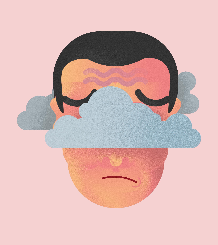 Eine Person mit Wolken um den Kopf