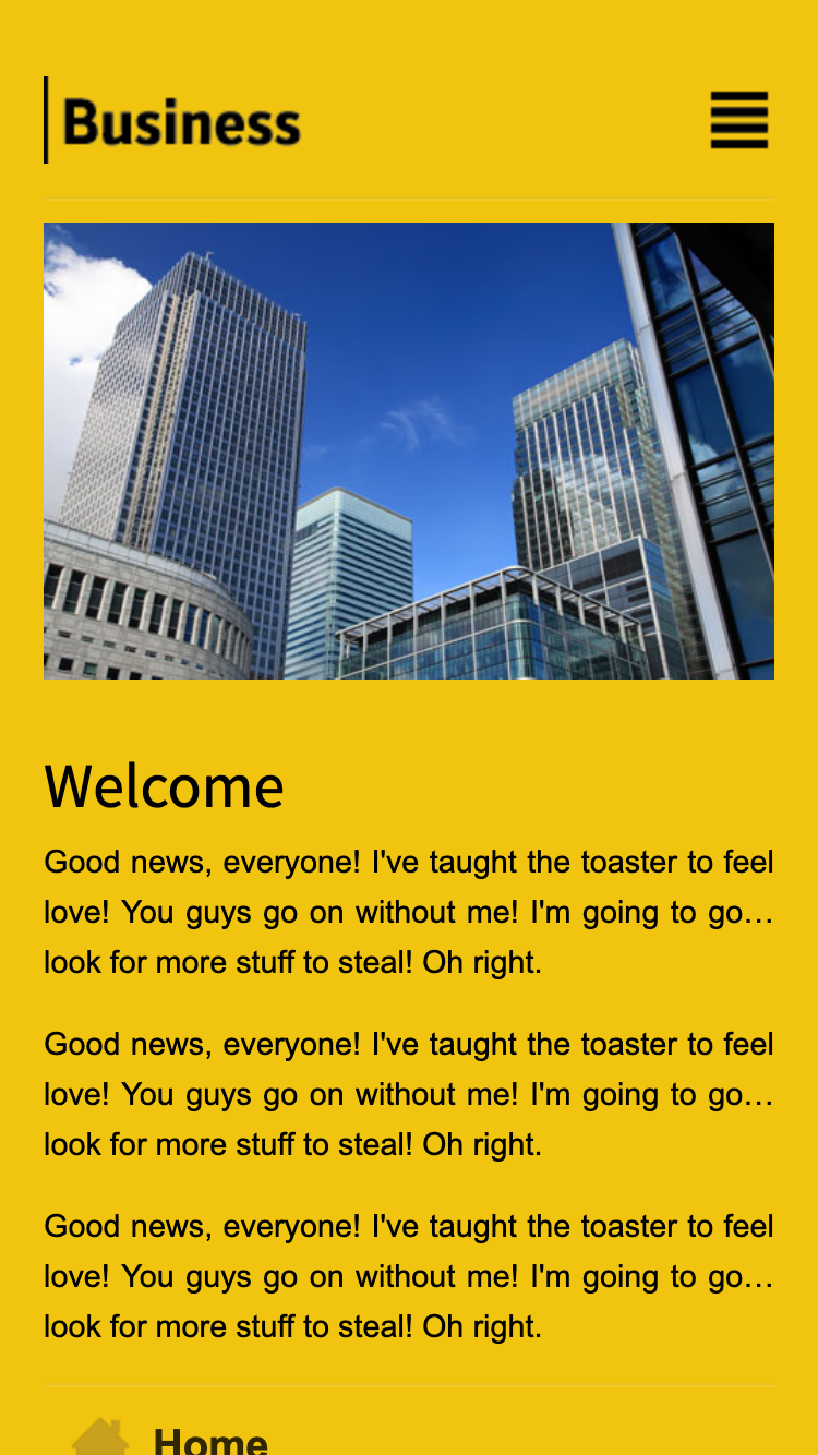 Screenshot of Sunflower Business Mobi mobile website template