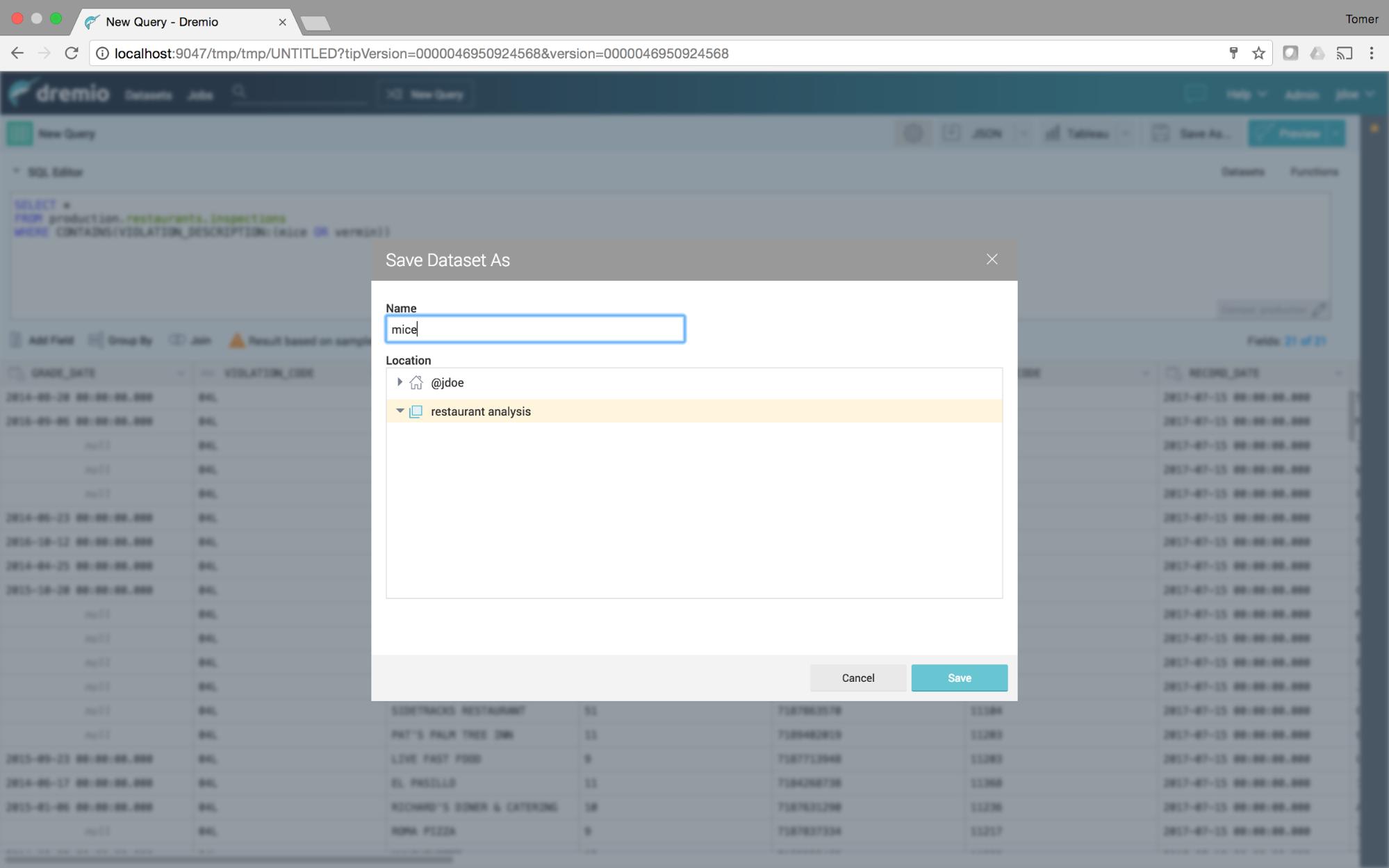Saving virtual dataset