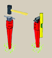A hand-drawn schematic of a spike fixing, demonstrating that the fixings should ideally be placed using a sledgehammer and a spirit level
