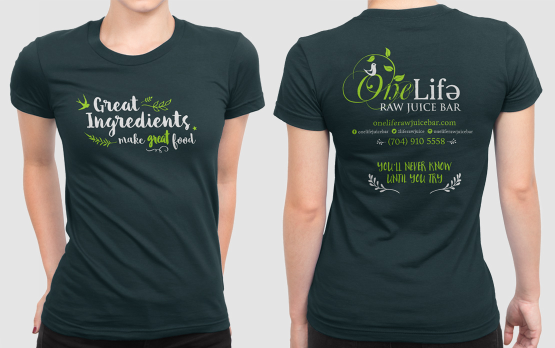 Employee shirts for One Life Raw Juice Bar