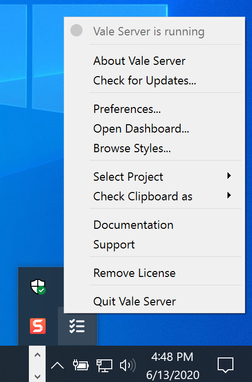 A screenshot of Vale Server's context menu.