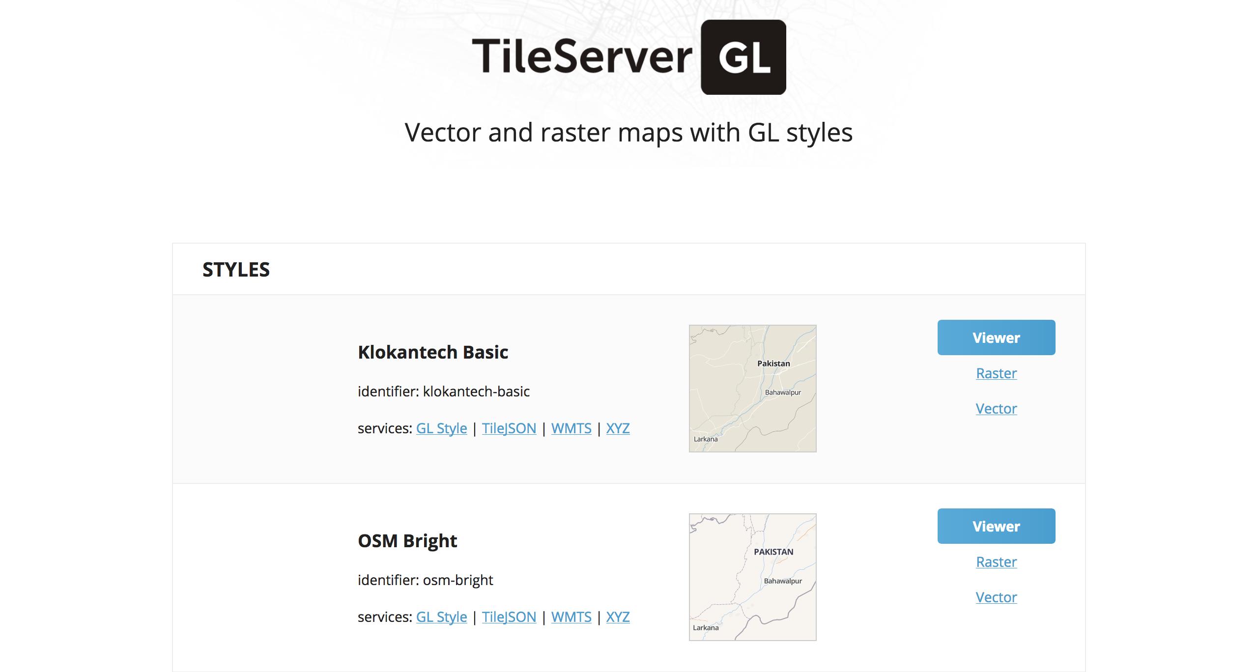 tileserver-gl webpage