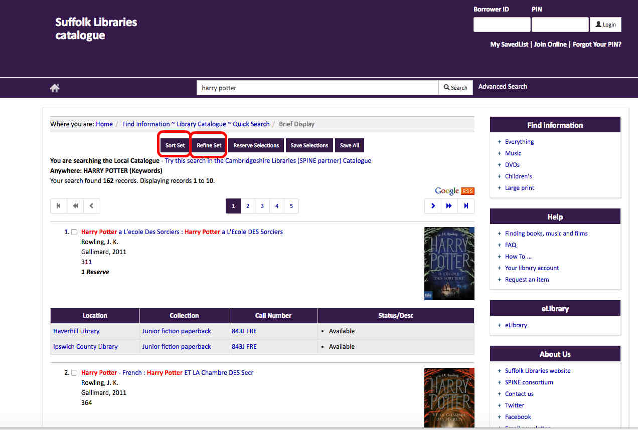 The Sort and Refine buttons help you organise and narrow your search