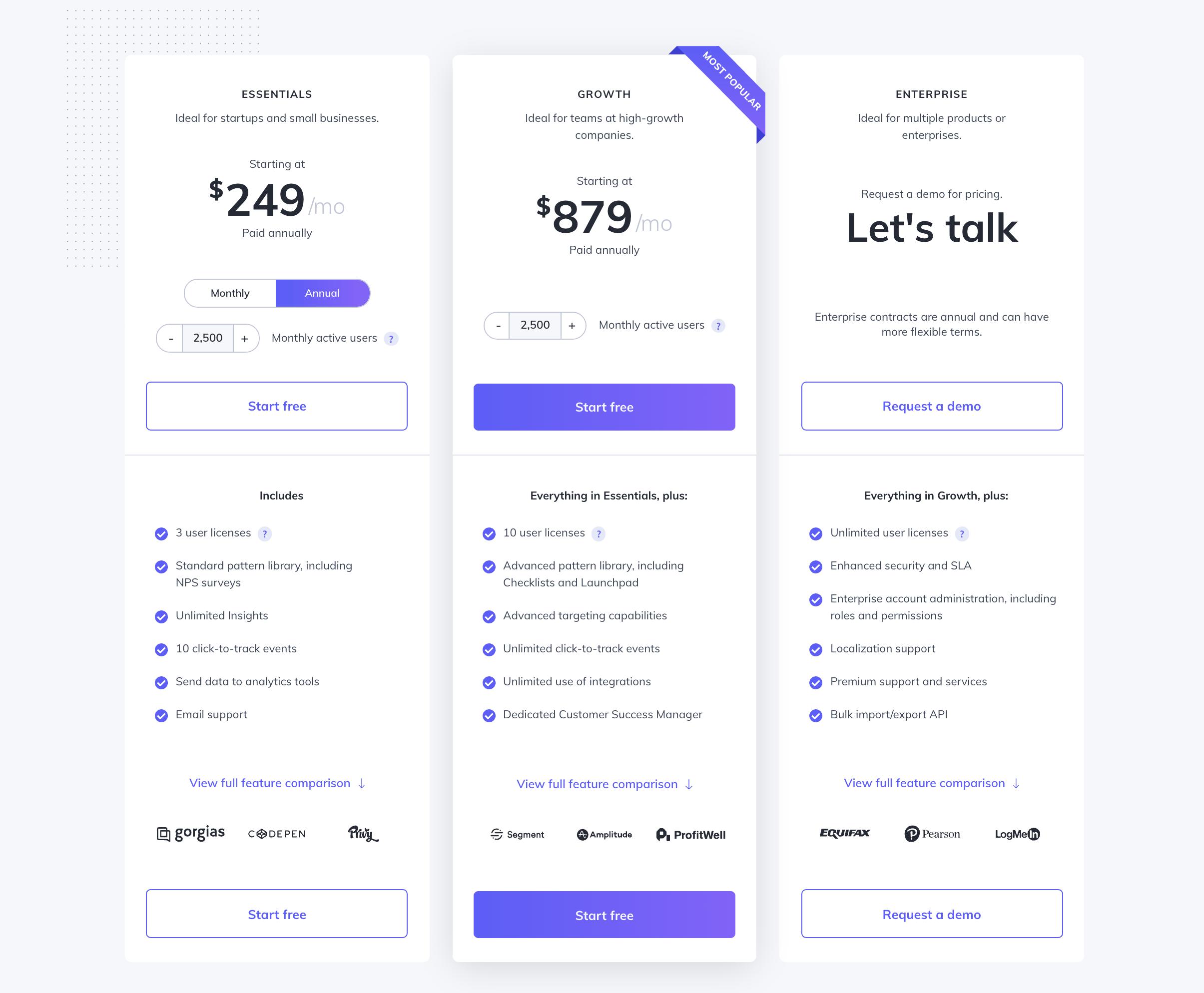 Appcues pricing screenshot