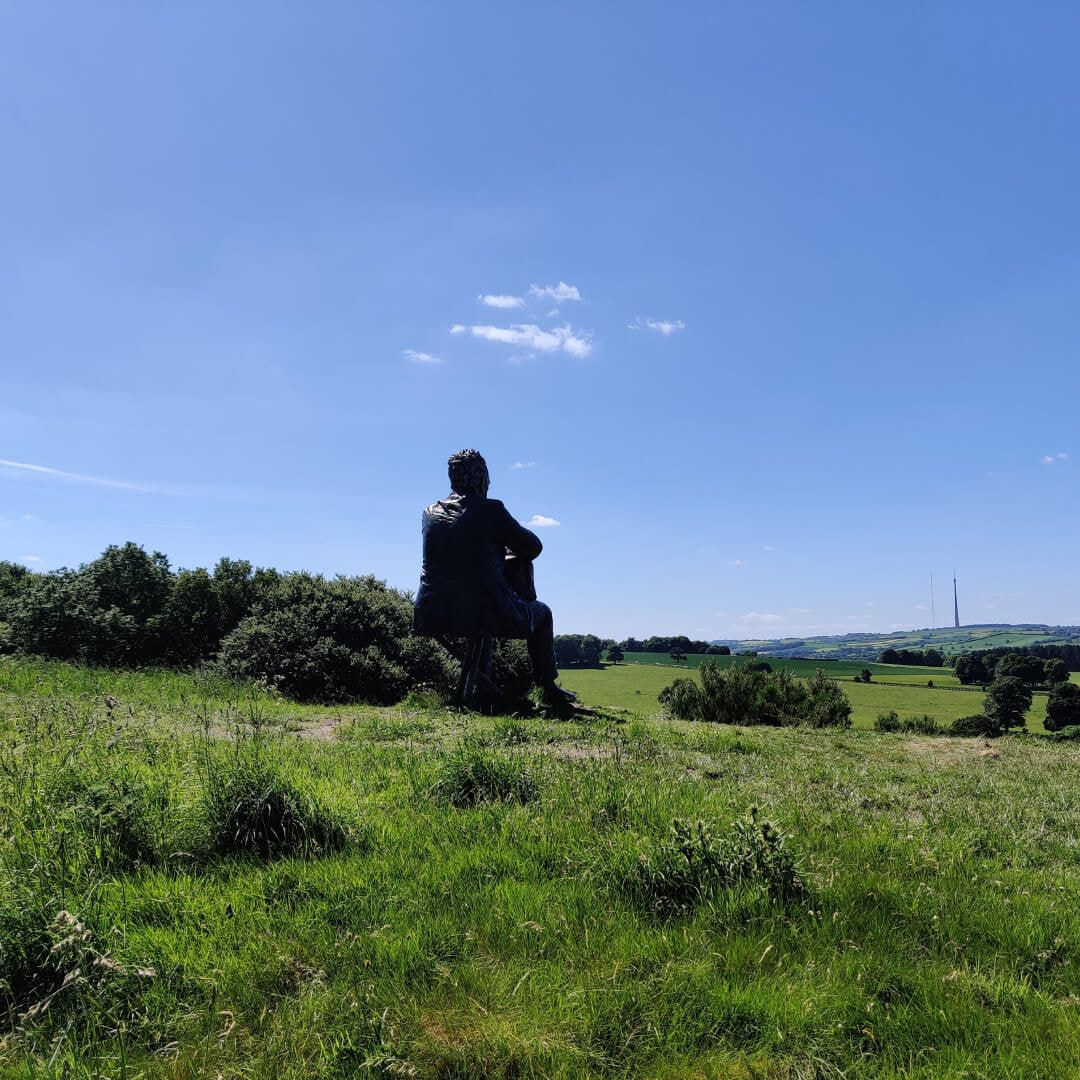 The back of Seated Figure overlooking Yorkshire Sculpture Park