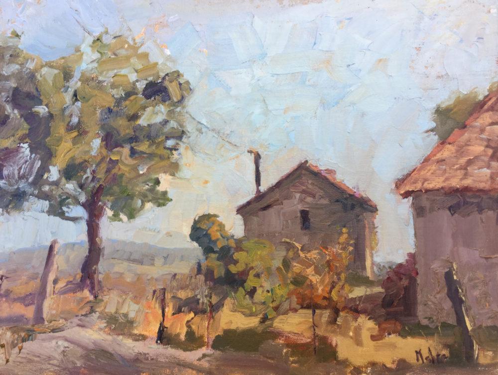Milk House and Walnut Tree 12x16