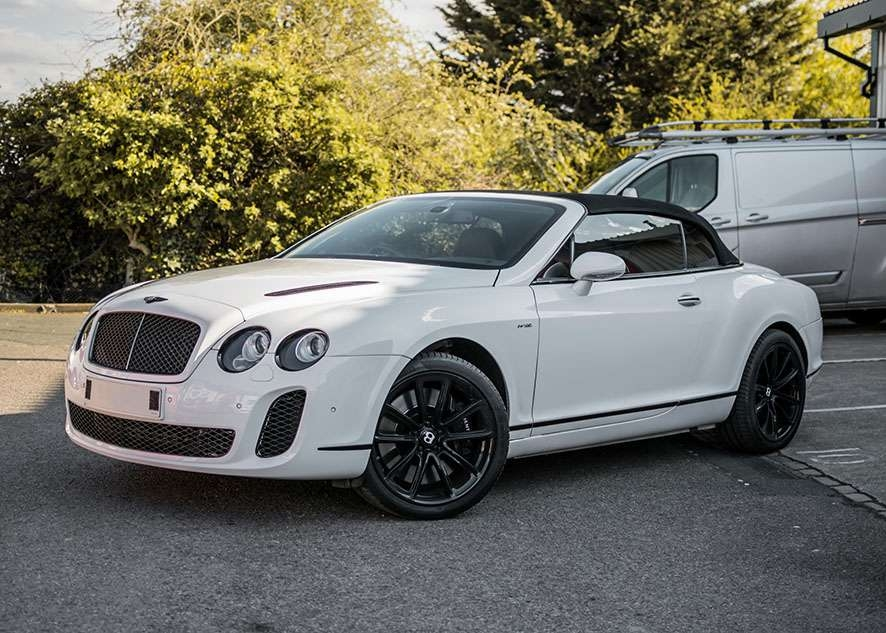 Bentley Continental GT car with tinted windows from front
