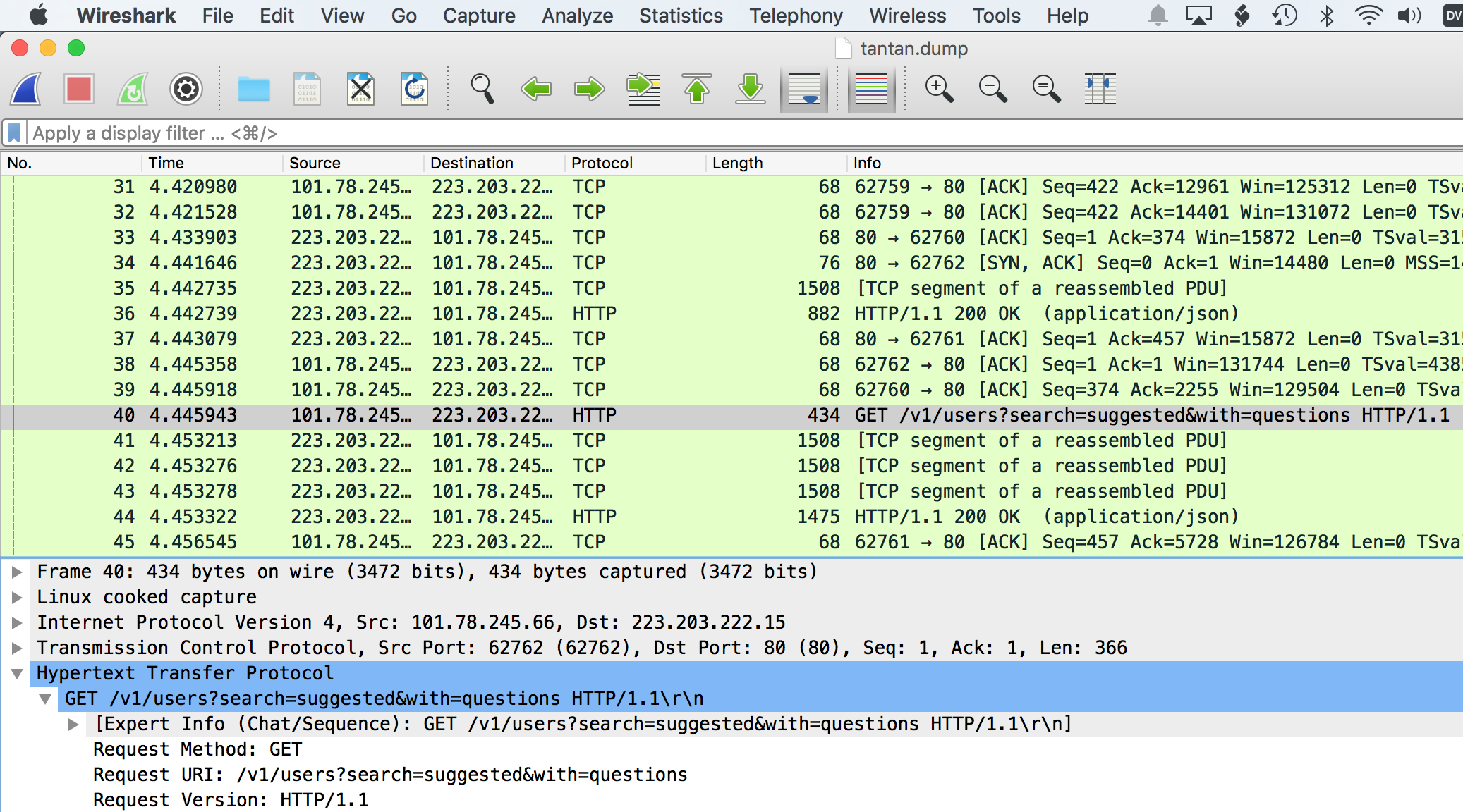 Wireshark analysis
