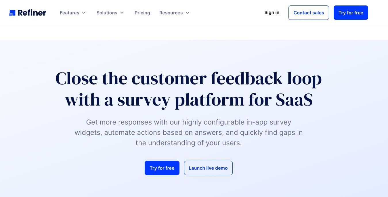 SaaS Marketing Automation Tools: Refiner Screenshot