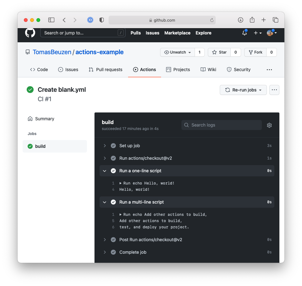 The logs of our first GitHub Actions workflow.