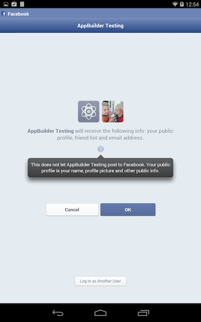 Facebook login on Nexus 7