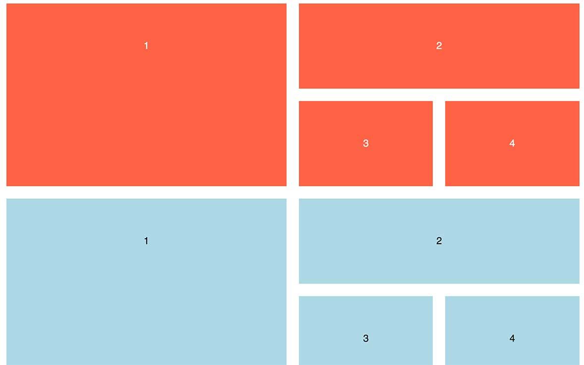 Side-by-side comparison of a flex grid to a grid layout grid