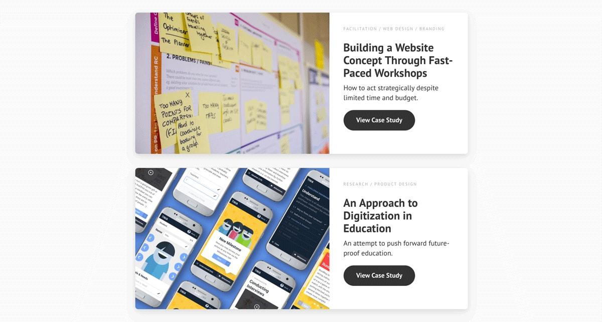 A screenshot of case studies from UX designer Moritz Oesterlau's portfolio