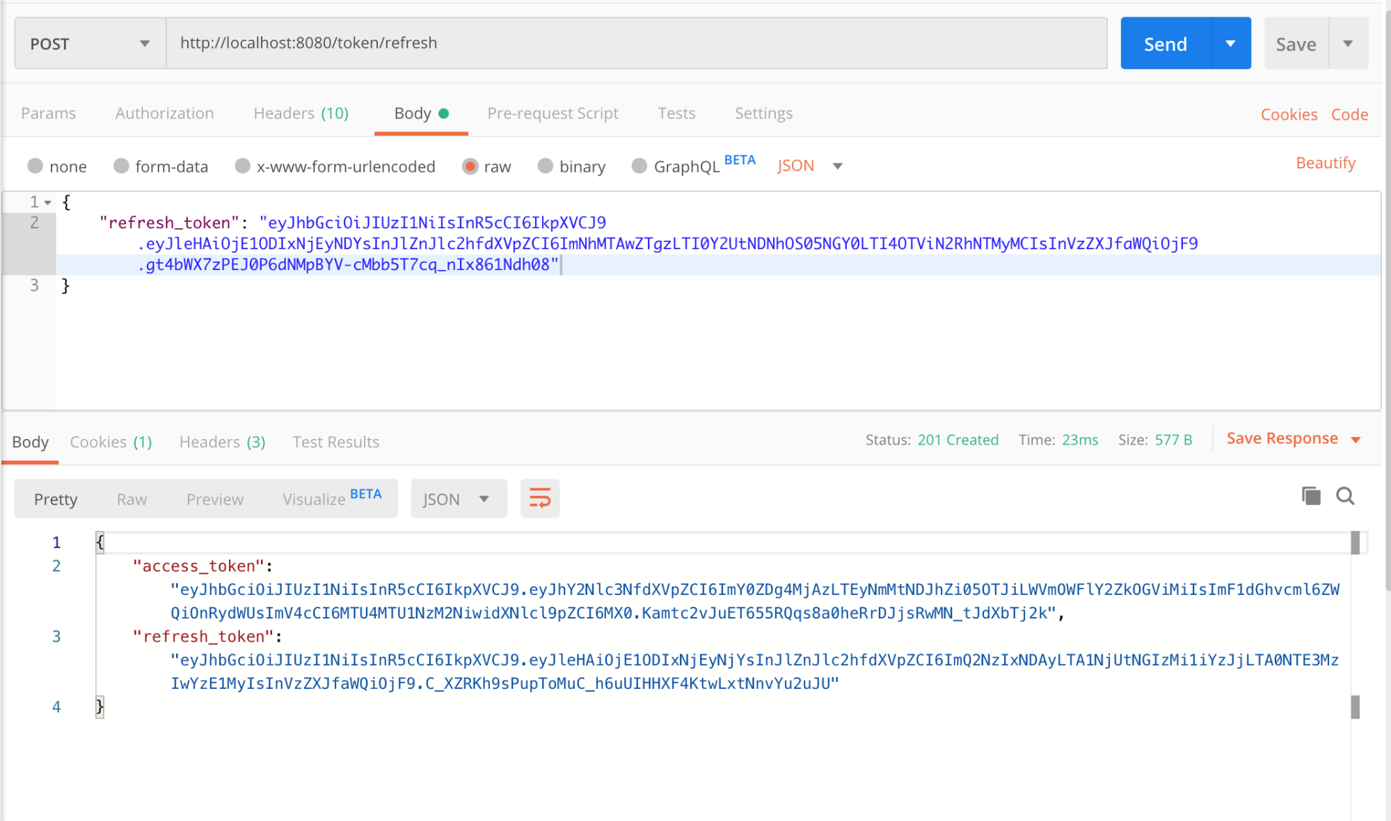 Testing the endpoint with a valid refresh token in Postman