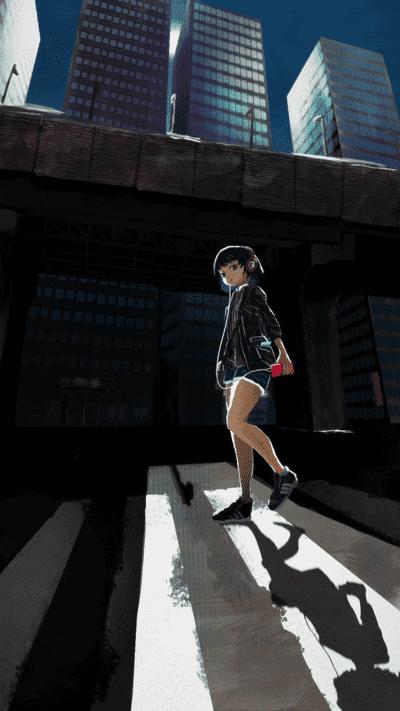 高架道路と人物