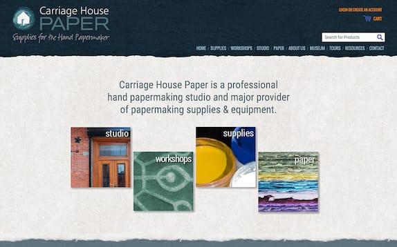 Screenshot of the Carriage House Paper website, carriagehousepaper.com