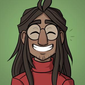 Tim grins.