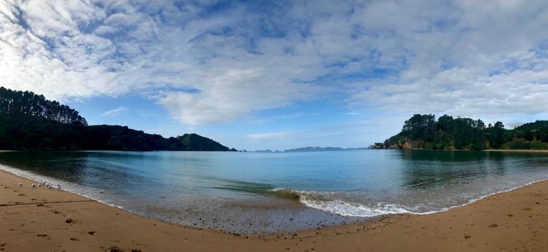 Mahinepua beach from where we start our peninsula hike