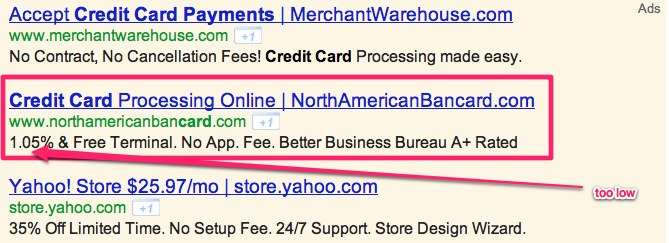 Screenshot - Advertisements on Google.com by services