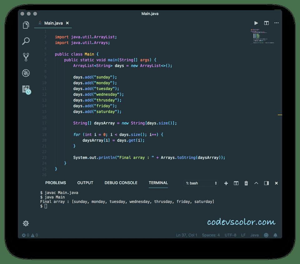 ArrayList to an array in Java