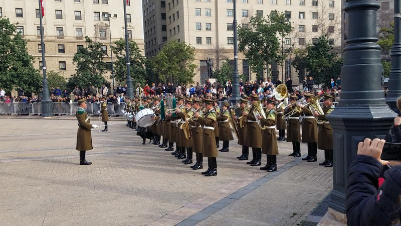 Changing of the guard at La Moneda (Presidential Palace)