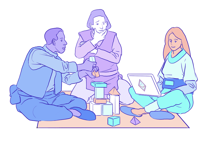 Illustration of a group working on an Ethereum project around a laptop