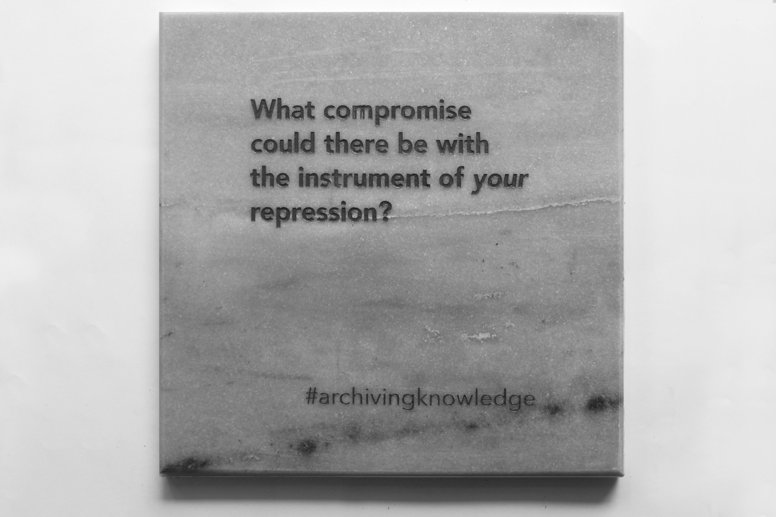 What compromise could there be with the instrument of your repression?, From the series: Archiving Knowledge, hand engraved marble, 2018
