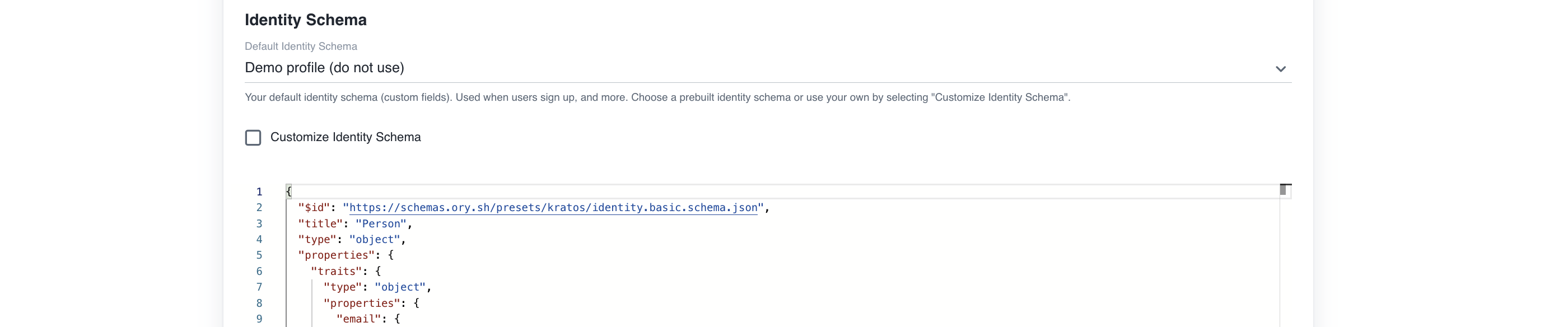 Choose Identity Schema for Ory Cloud Project