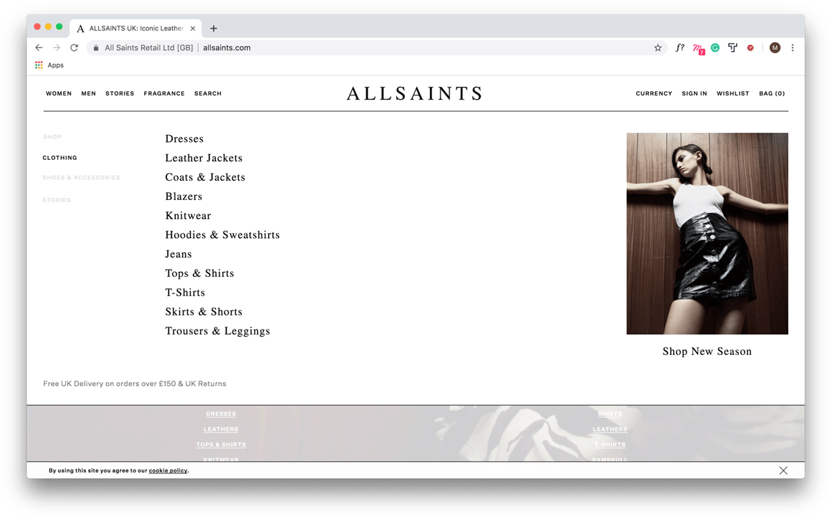 Another screen capture of the All Saints website, this time with fewer drop-down menu options
