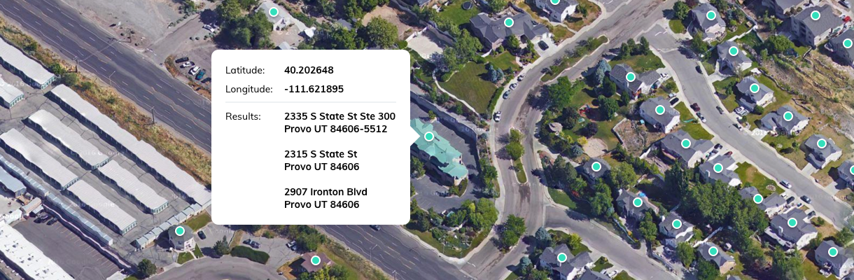 US Reverse Geocoding reveals the address from longitude and latitude coordinates