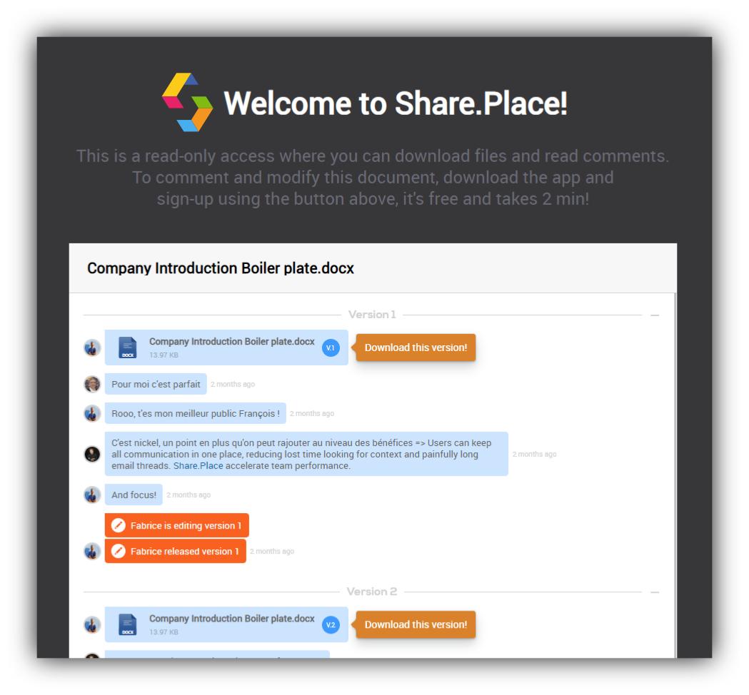 SharePlace public link sharing snapshot