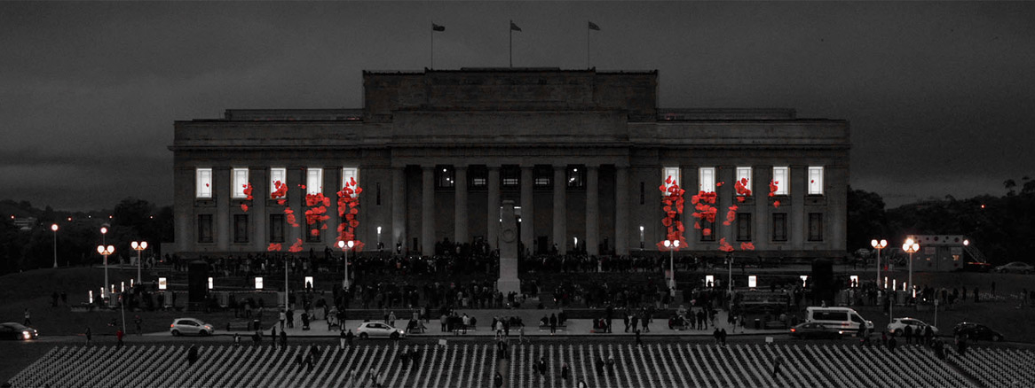 Armistice projection mapping onto Auckland War Memorial Museum